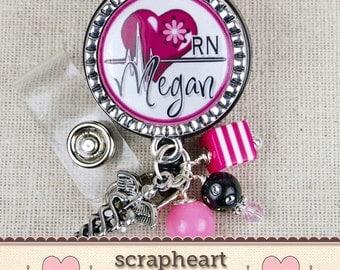 Cardiac Nurse RN Personalized Name Badge Reel, Cute Hot Pink Heart Design Nurse Name Badge, Personalized Hospital Staff Gift, RN Graduation