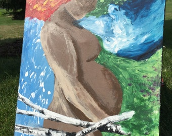 Mother earth original art painting pregnant