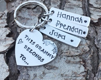 SALE FOR CHRISTMAS !Grandparents custom keychain 3 names