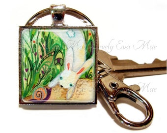 Lauren Alexander, White Rabbit Keychain with Clip, Bunny Keychain, Easter, Watercolors, Key Fob with Clasp, Key Chain, Keyring