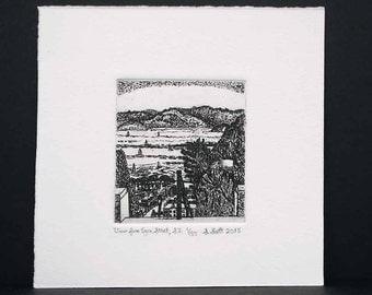 View from Lyon Street, San Francisco, Etching and Engraving, Intaglio, Original Print, San Francisco Art, Lyon Street Steps, Limited Edition