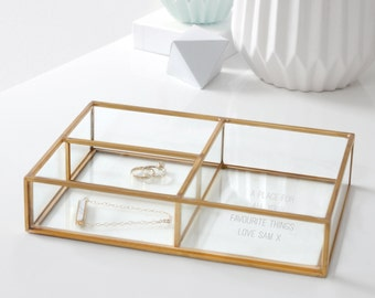 Vanity Tray, Jewellery Tray, Glass Tray, Personalized Jewelry Tray, Gold Compartment Tray, Gift For Her, Personalised Glass Compartment Tray