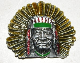 Native American Indian Chief Design Belt Buckle