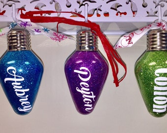 Personalized Light Bulb Shaped Ornaments
