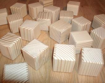 "50 unfinished wood blocks, wood baby blocks  - 1 1/2"" square, wood alphabet blocks, wood craft blocks, baby shower activity"