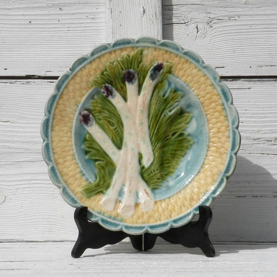 French antique majolica asparagus plate, French country, asparagus plate, majolica plate, country home, French vintage, French antique