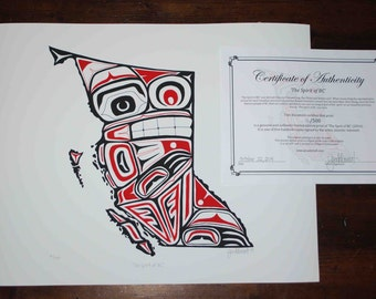 """The Spirit of BC - Northwest Coast First Nations Style Art Map of British Columbia, Spirit Bear - 16x20"""", signed, limited edition print"""