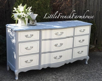 French Provincial Serpentine Dresser - 9 Drawers Cabriole - Custom Paint to Order - Gorgeous! SOLD - SOLD - SOLD