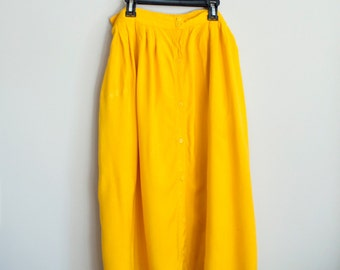 Yellow Button Down Skirt, Med