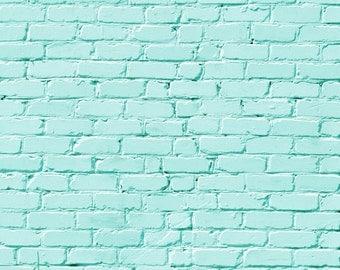 Mint Blue Brick Wall Photo background, Chic brick wall photography backdrops, Vinyl photo printed backdrop for Children photo shoot  XT-2942