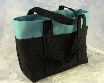 Six Pocket Lined Tote Bag - Black Butterfly and Teal; Small Tote Bag; Tote Bag; Multi-Pocket Tote