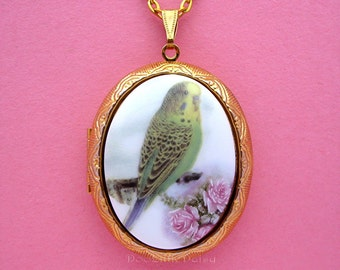 Pretty Porcelain Green and Yellow Parakeet with Roses Cameo Pet Bird Birds Costume Jewelry Goldtone Locket Pendant Necklace w/ 24 Inch Chain
