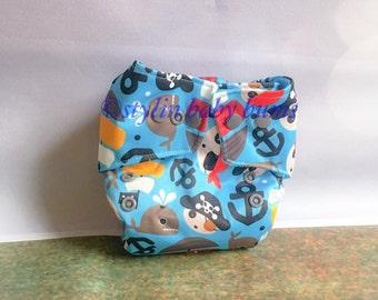 NEWBORN boys pirate pocket diaper- FREE SHIPPING