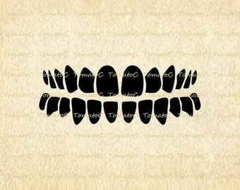 Teeth Digital Image Download for Transfer Tea Towel Totes Pillows Burlap Print on Paper Instant Download.T595