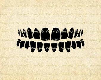 Teeth Digital Image Download for Transfer Tea Towel Totes Pillows Burlap Print on Paper Instant Download.T595