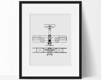 Airplane Office Decor -  Aviation Print - Vintage Airplane Print -  Antique Plane Print - Airplane Nursery Wall Art - Airplane Home Decor