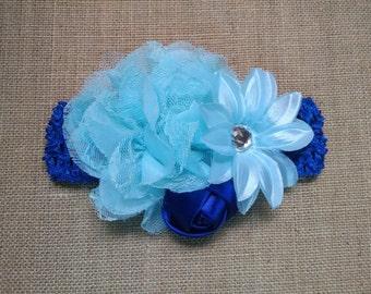Baby Girl Headband, Royal Blue Headband, Flower Headband, Baby Headband, Baby Hair Accessory, Infant Headband, Toddler Headband