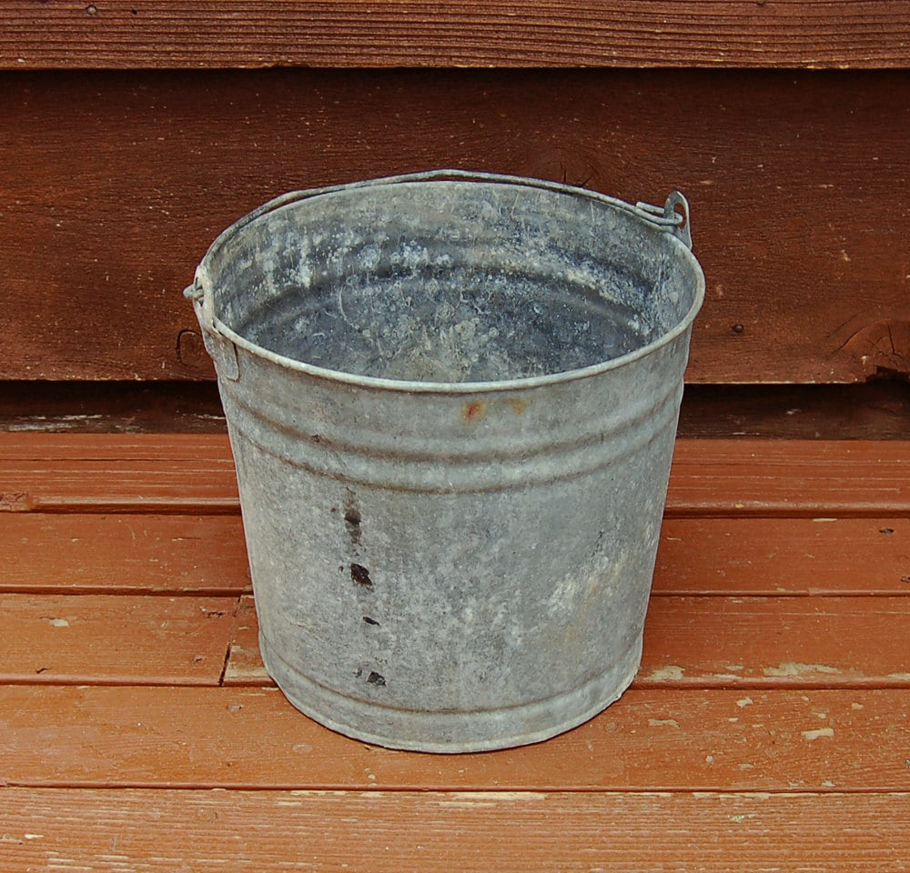 Holey bucket old rustic galvanized bucket by for Rustic galvanized buckets