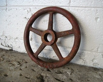 "LARGE 12"" RED Industrial Vintage Rusty Handle Steampunk Wall Art Machine Cog Gear"