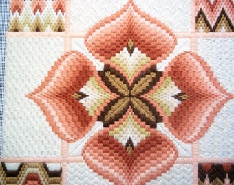 Bargello Needlepoint in Whites, Oranges, Browns and Beige