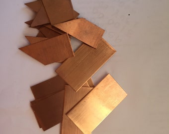 "Destash Stamping Copper Metal Miscut 1"" Copper Blanks Pieces Practice"