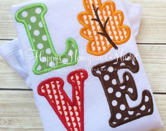 Love Leaf Fall Applique Girly Ruffle Shirt T-Shirt Bodysuit Thanksgiving Pilgrim Give Thanks