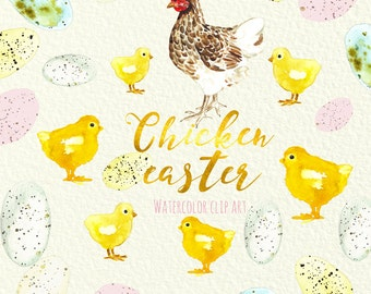 Chicken EASTER Hand Painted Clip Art. eggs, hen,  tulips watercolor wreath.