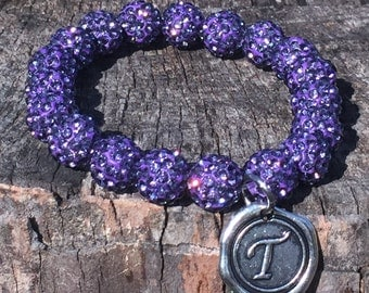 Purple Shamballa Bead Bracelet with Initial of your choice