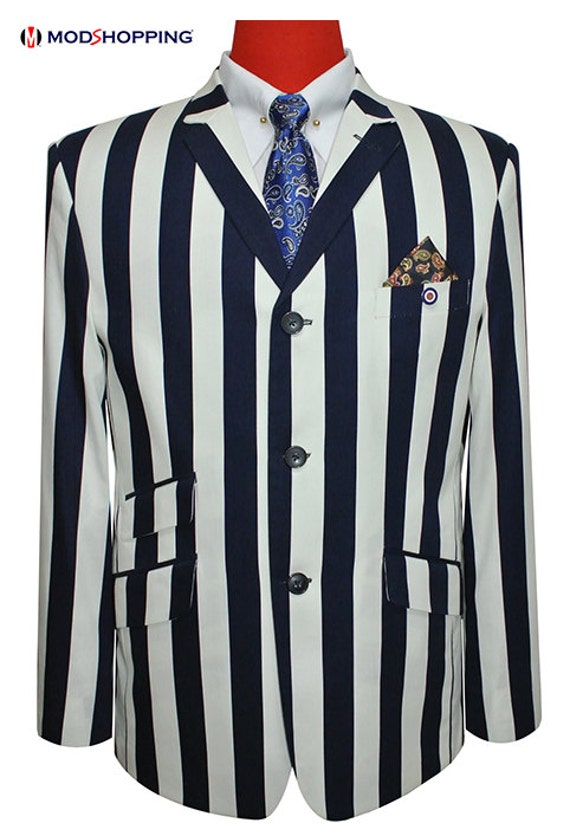 1960s Style Mens Suits- Skinny Suits, Mod Suits, Sport Coats Boating Blazer Classic StripedBlue And White Striped $191.32 AT vintagedancer.com