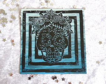 """Linoprint """"Mexican Skull"""""""