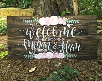 Wedding Welcome Sign | Wedding Entrance Sign | Rustic Wedding Decor | Welcome To Our Wedding Sign | Wood Sign | Wooden Welcome Sign