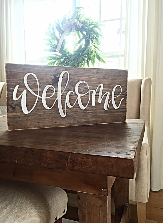 Welcome sign home decor rustic hand painted wood