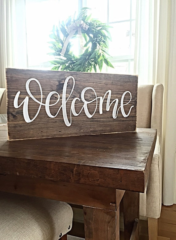Welcome wooden sign home decor rustic outdoor welcome for Welcome home decorations