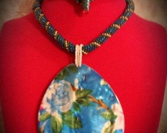 Blue Seed Bead Embroidery Necklace, Large Floral Blue Shell Pendant, Handmade OOAK, Seed Bead Embroidered Necklace,