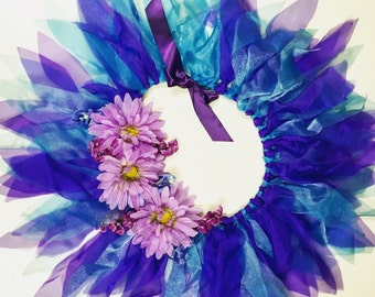 Purple and Blue Flower Fairy Tutu - Halloween Tutu - Rave Tutu - Available in Toddlers, Girls, Teenager and Adult Sizes