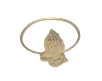 PRAYING HANDS 6GOD ring in brass