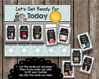 Morning & Bedtime Routine Picture Charts - Laminated Chore Cards - Blue - Pink - Kids - Toddler