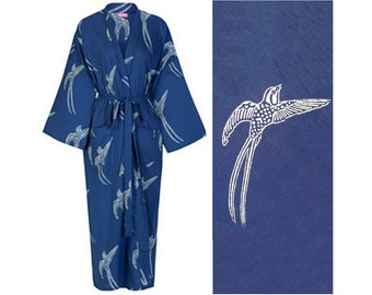Top Seller! Cotton Kimono Robe - Dark Blue - Lightweight Cotton Dressing Gown - Women's Bathrobe - 100% Cotton Bathrobe.