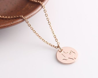 Rose Gold Disc Necklace, Texas Necklace, Personalized State Map Necklace Jewelry, Can be made with any State or Country