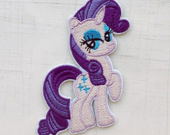 7 x 8.5cm, My Little Pony Rarity Iron On Patch (P-099)