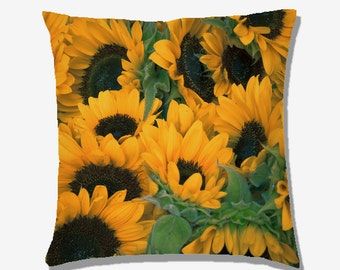 Sunflowers Photography - Decorative PIllow Throw Cushion Fabric , Case Cover or with Filling