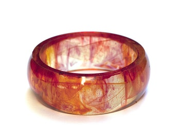 On Sale - Squeleton leaves amber color resin bangle bracelet - Ø 5.8cm - 2.28 in