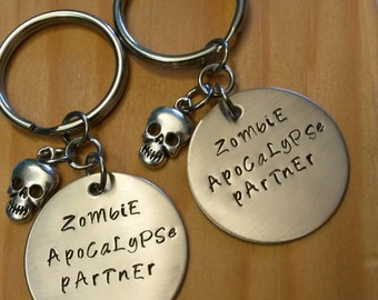 Hand Stamped Keychain Couples Keychains Zombie Apocalypse Partner Keychains