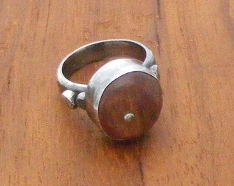 Sterling silver and carved wood ring