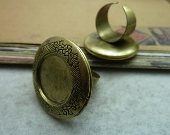 1pcs 20mm Antique bronze locket finger rings base settings pendant tray Jewelry findings  bC7360