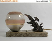 ON SALE 10% on every item Original Vintage 1940 French Art Deco Table Lamp Light on Marble flying bird figure.  Very good conditions