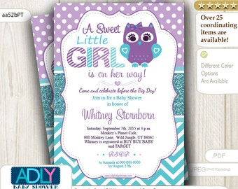 Purple Teal, Turquoise Owl Invitation for Baby Shower, Teal Glitter, Polka and Chevron, A little girl owl is on the way - aa52bPT