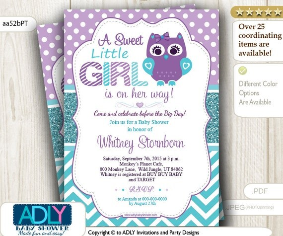 similar to purple teal turquoise owl invitation for baby shower teal