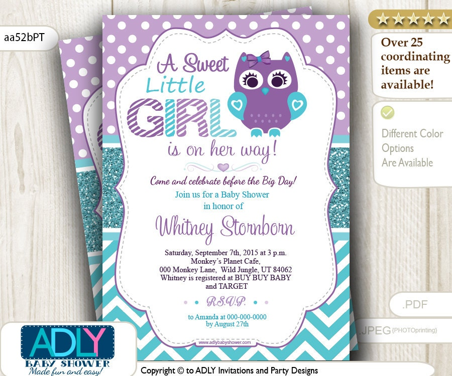 purple teal turquoise owl invitation for baby shower teal