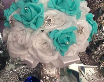 Quinceanera Bouquet - White/ mint Quinceanera Bouquet.